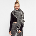 Lady Womens Mens Winter Blanket Cozy Pashmina Jacquard Houndstooth Scarf