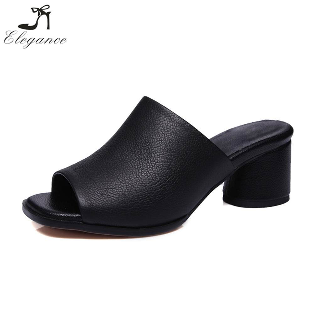 Latest Design Casual Shoes Cow Leather Fancy Round Heel Peep Toe Mules Sandals Summer Slippers for Girls