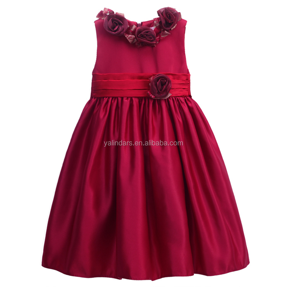 Pictures of Latest Gowns Designs Sleeveless Little Girls Dresses for 12 Years Old