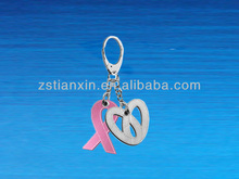 Fashion Red Ribbon Metal and Leather Keychain