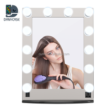 Hollywood Lighted makeup artist salon mirror makeup case, Aluminum cosmetic wall/table mirror with 12 bulbs