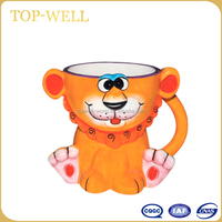 Lovely smart 3D animal ceramic mug ceramic children mug made in china