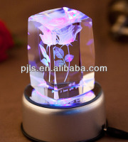 crystal 3D laser with led base, crystal cube, glass block
