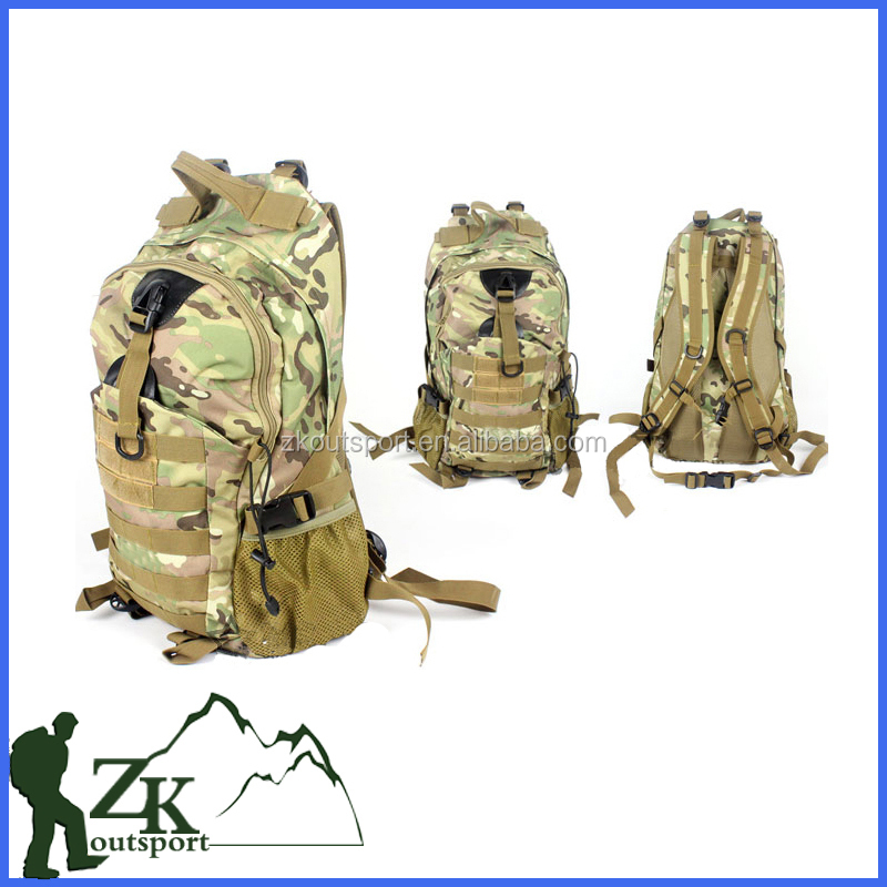 Big camo army backpack and Camouflage rucksack and tactical bag in military training and exploration in wild