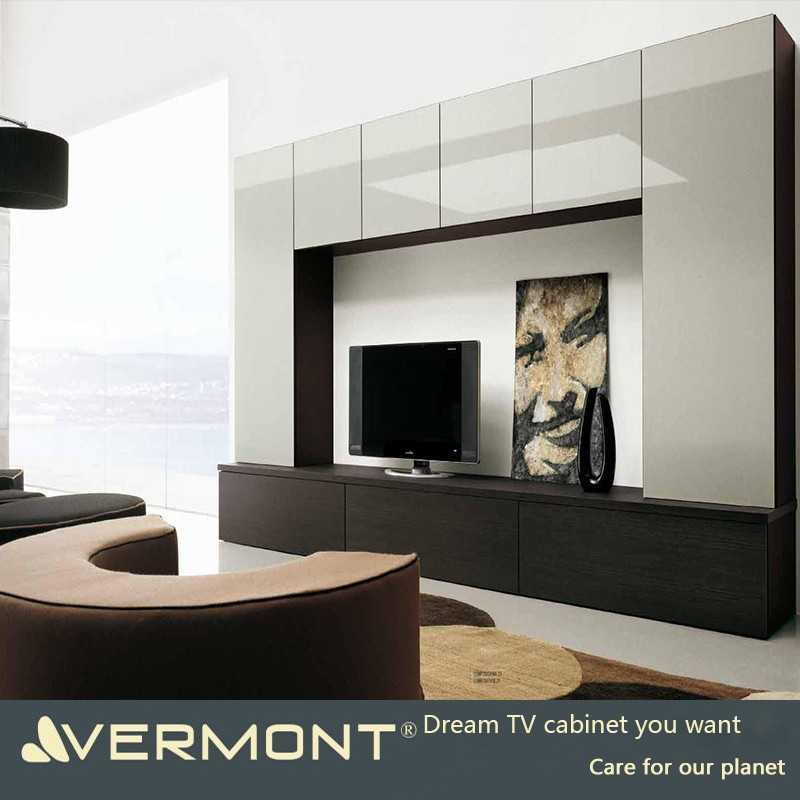 2017 modern customized long TV cabinets with LED lights