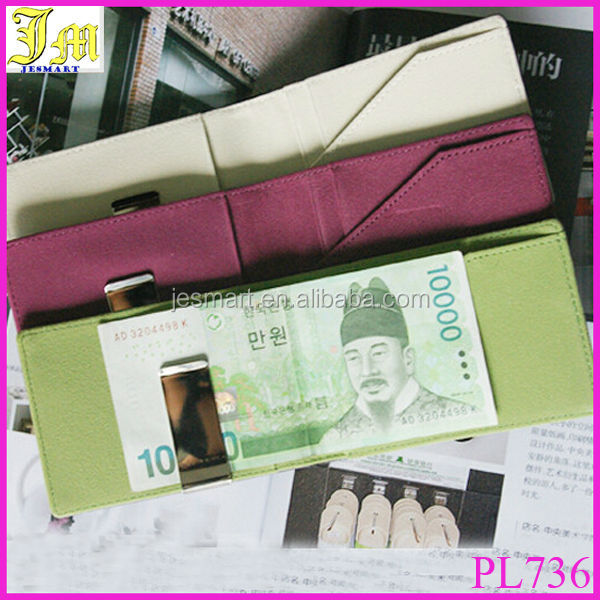 Wallet Money Cash Clip Men Women Black PU Leather Credit Card Holder Ultra Slim