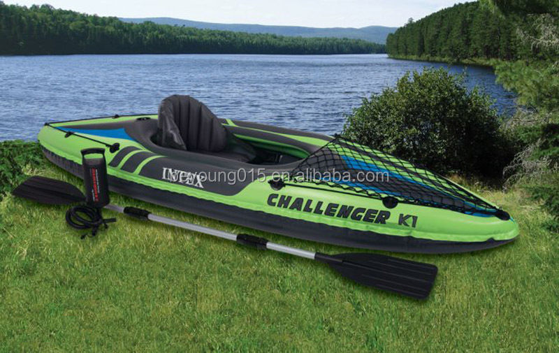 68305 Intex Challenger K1 Inflatable Kayaks with Paddle and Pump for 1 person