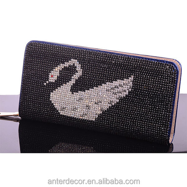 Genuine leather beads Mosaic swan hand clutch bag