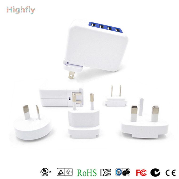 4 Ports USB Travel Charger AC Adapter US Plug/Wall Power Outlet Socket 4 ports usb ac adapter