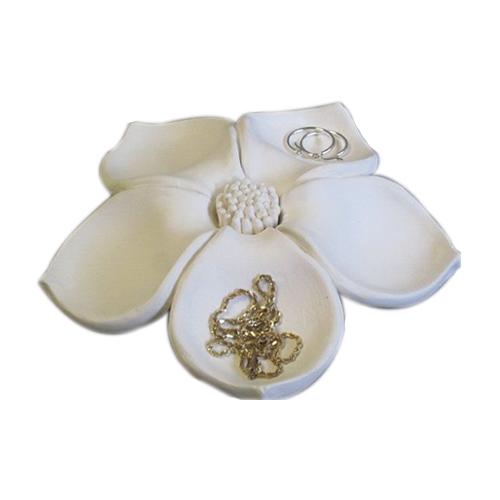 Ceramic decorative flower bloom jewelry holder jewelry display tray