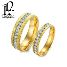 Gold Plated Stainless Steel Cubic Zircon Couple Wedding Rings