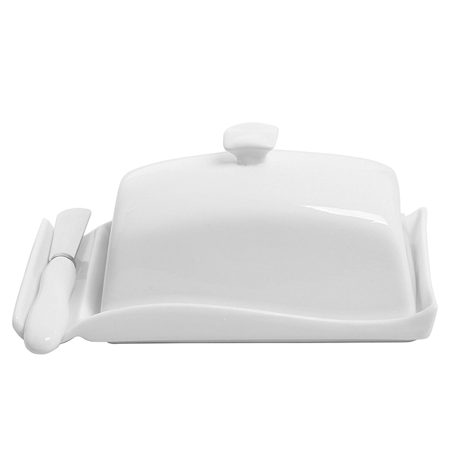 Butter Dish Cow Shaped White Porcelain Butter Plates