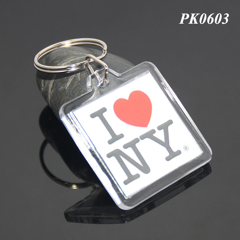 Wholesale DIY Acrylic Blank Photo Square Shaped Clear Transparent ABS Insert I LOVE NY Photo Picture Plastic Key Ring Acrylic