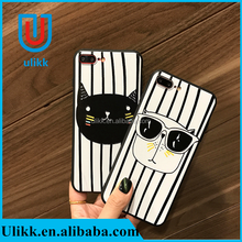 Cartoon Cute Cat Dog Animal Phone Case For iphone 7 7plus 6 6plus 4.7/5.5 Inch Vertical Stripes Embossed Silicone Back Cover