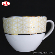 2017 New Design liquidation dinnerware with gold rim and golden pattern YGG17204