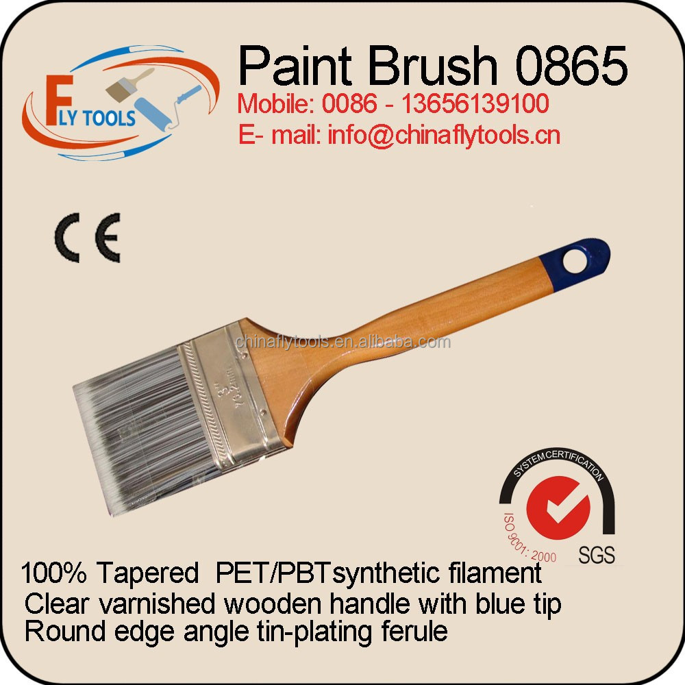 long wooden handle angle paint brush