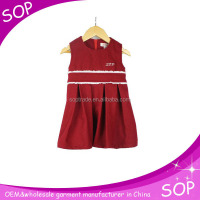 latest model baby girl pleated sleeveless wool dress for autumn