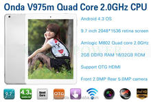 New Onda V975M 9.7 inch Quad Core Tablet pc Cortex A9 2.0GHz Retina Screen 2048x1536 2GB/32GB HDMI Bluetooth Android 4.3 Tablet