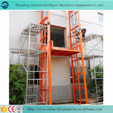 Electrical hydraulic system guide roller rail vertical material goods cargo lift for warehouse with competitive