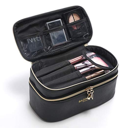 Black PU multi-purpose ladies portable cosmetic makeup bag travel cosmetic bag For women belongs