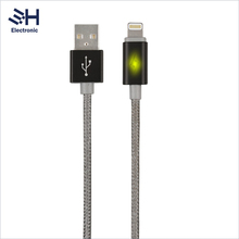 Braided Fabric Durable C48 2.4A Fast Charging Data Line Original MFI LED USB Cable with LED Light