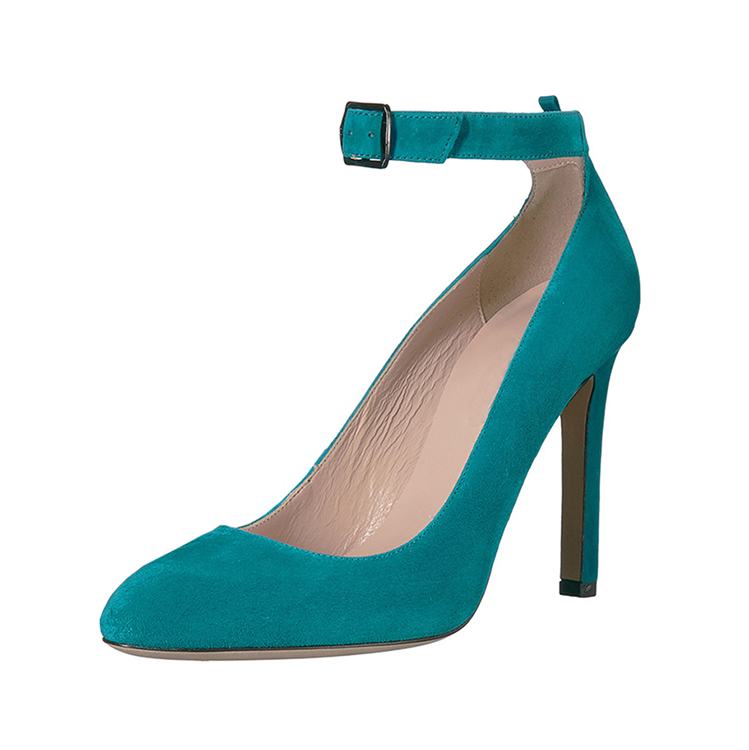 Green Color Simple Style Antiskid Pointed Top Cap 12cm Pigskin Lining Buckle High Heel