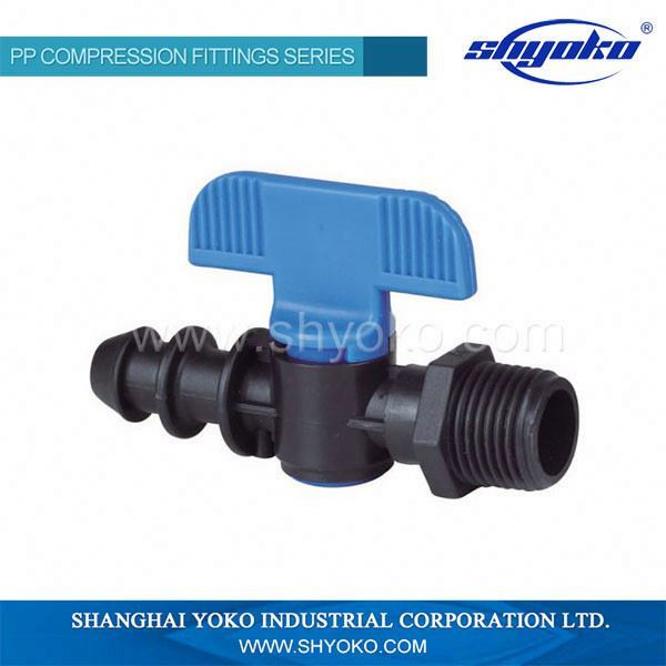 Hose pipes pp mini water valve for irrigation system with red handle