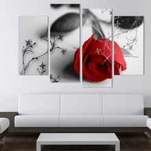 4 panel red rose pictures group canvas wall art prints printed custom wall art photo printing