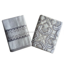 Luxury unique cotton velour 600gsm grey custom design yarn dyed jacquard woven bath towel
