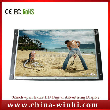 Open frame 1366 * 768 TFT lcd digital signage display led tv screen 32 inch