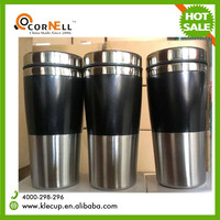 Hot sale 450ML double wall insulated coffee cup stainless steel inner and plastic outer tumbler mug wholesale