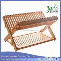 Foldable Bamboo Kitchen display Holder Dish Rack