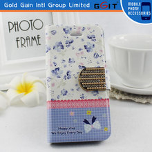 High Quality PU Leather Pastoral Pattern Case for Galaxy S4 mini i9190 Summer Series with Diamond