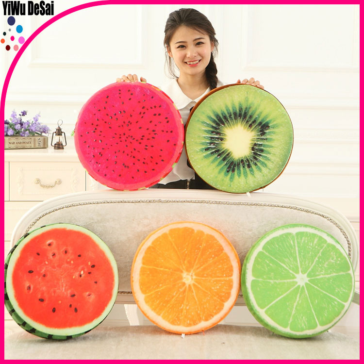Funny fruit shaped pillow face cushion plush food toy pillows toy watermelon and lemon pillows