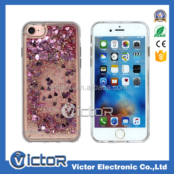 2017 trending products tpu glitter phone case for iphone 6 liquid case