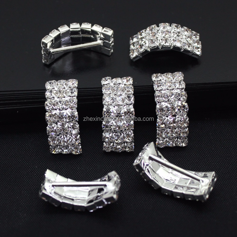 three line bling rhinestone silde charm DIY alloy accessories rhinestone embellishment DIY craft