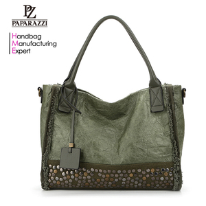 7909 China Supplier Alibaba Wholesale Rivets Hand Bag, Online Shopping Olive Bags Women Handbags 2018