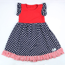 2017 New arrival cap sleeve girls dress with ruffle and points new model girls dress party dress