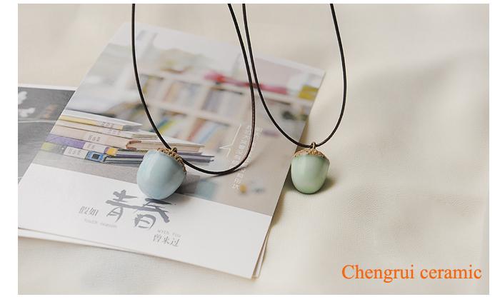 Pineal Necklace ceramic necklace pendant handmade snack necklace DIY special cute charm pendant ori-width=