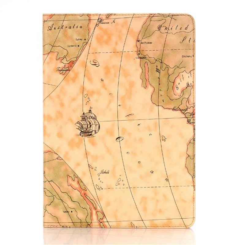 World Map Magnetic Folio PU Leather Case Cover With Credit Card Stand Holder for Apple iPad Pro 9.7 2016