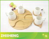 CM-B01 serving tray with 4pcs coasters, New Design bamboo cup coaster