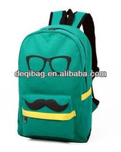 2013 New Women Girl Cute Fashion Mustache Canvas School Book Campus Bag Backpack