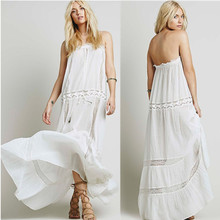 Lace trim inset ladies tube white beautiful dress fashion, dream maxi dress