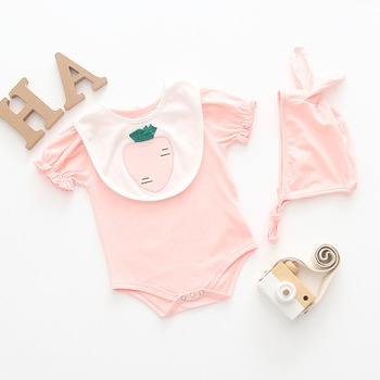 2019 summer infant baby girl baby bibs lotus leaf sleeve solid color conjoined romper hat three-piece suit