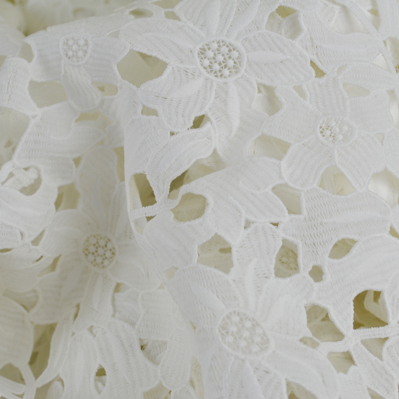 2017 women pure white cotton chemical lace fabric