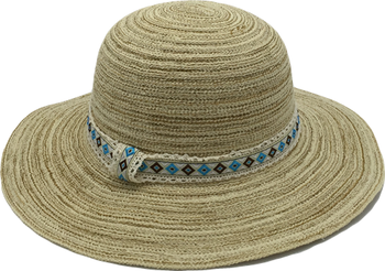 Wholesale Summer Beach Ribon/Polyester/Cotton Twill Hat For Ladies