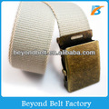Kids' Beige Color Fabric Belt with Slip Iron Buckle