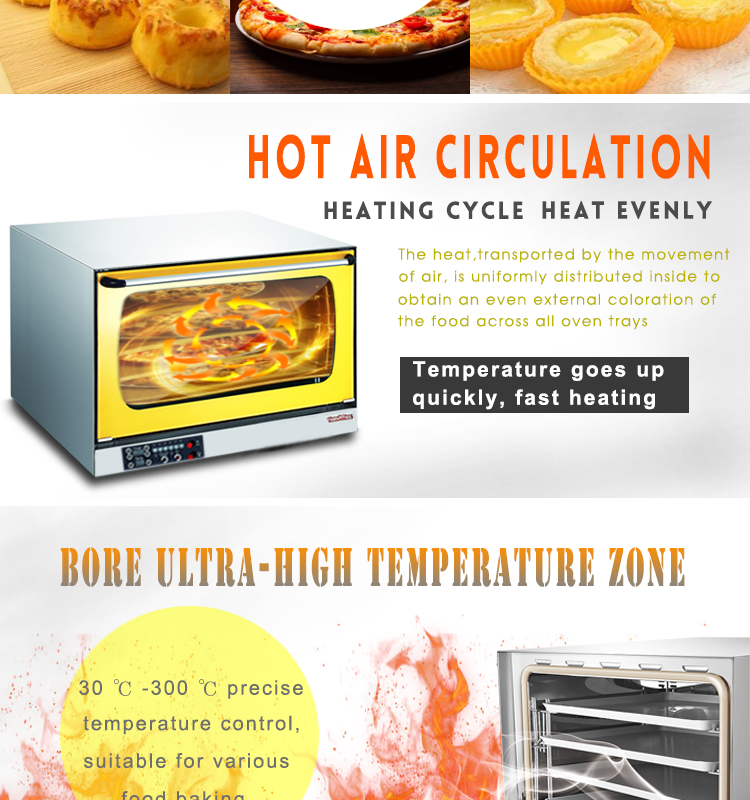HEO-8D-Y Stainless Steel Electric Commercial Convection Oven with Turbo Hot Air
