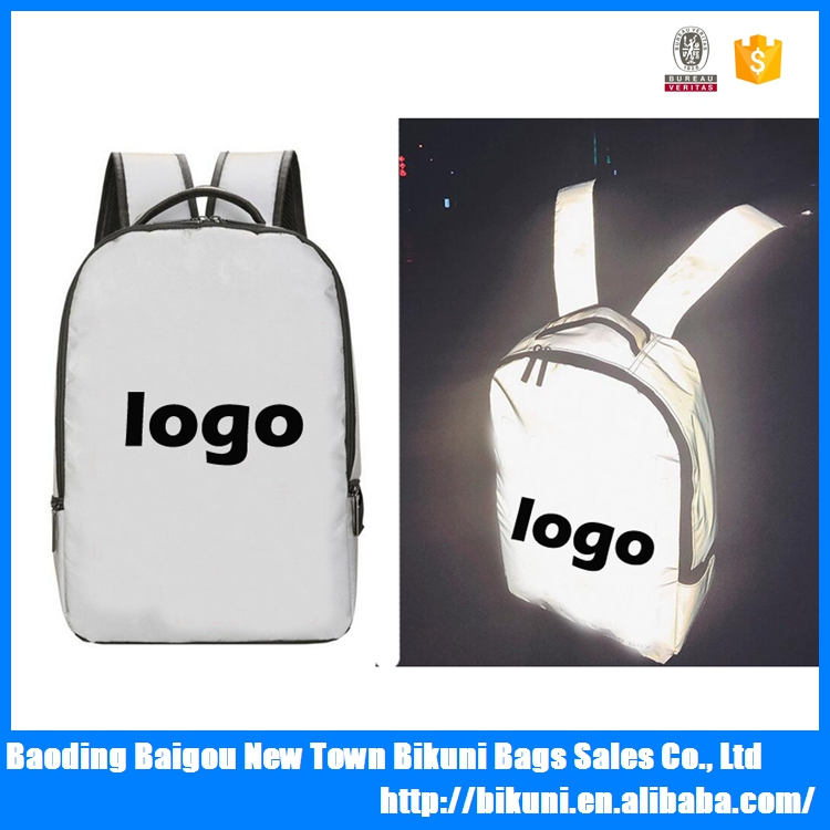 Custom large capacity Fluorescent night walk safe travel school sports reflective backpack with your logo