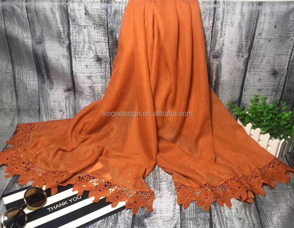 New unique prime wholesale factory muslin fastly ship headscarf muffler turban rhinestone ladies viscose cotton lace hijab shawl